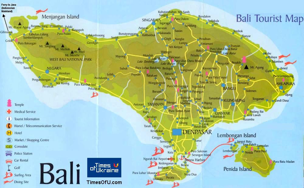 Bali beach map